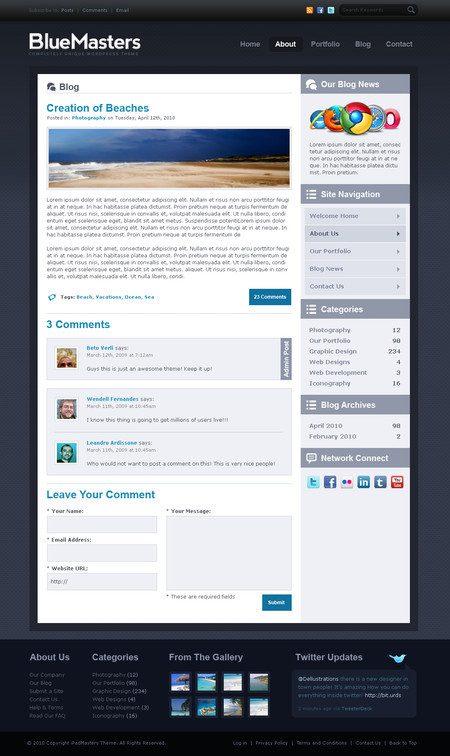 Plantilla de página web en psd gratis